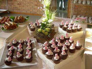 Marzipan pigs on chocolate cup cakes for the Durbanville Flower Club tea