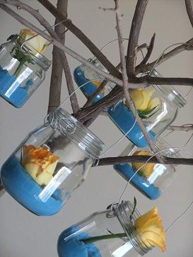 Hanging ball jars on a branch