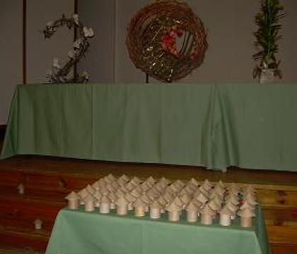 Cardboard mushrooms filled with Lavender Tub-Tea
