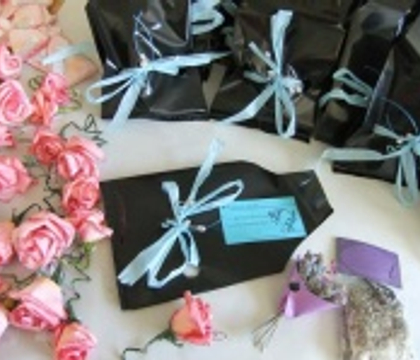Durbanville Flower Club Parting Favors decorated with coffee filter and water colour roses.