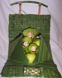 Flax and Palm leaf bag- open