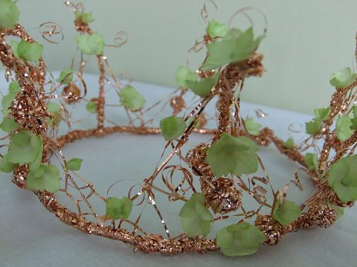 Wire and Hydrangea Tiara- detail