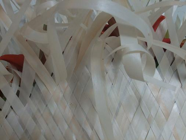 Weave pattern and random knots in strips of Kyogi paper