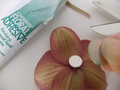 Glue the magnet to the orchid