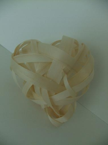 I wove the heart shape form shaved wood strips