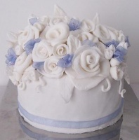 White and lavender Rose Cake