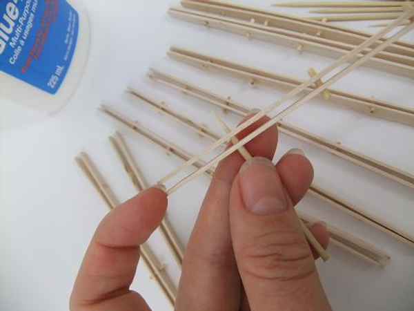 Making the fan- insert wooden skewers as spacers