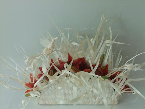 Kyogi paper bird and fan nest basket with burgendy lilies