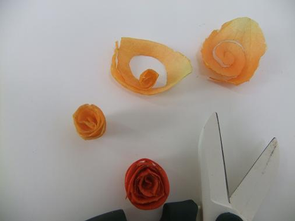 Roll spiral blossoms from Physalis sepals