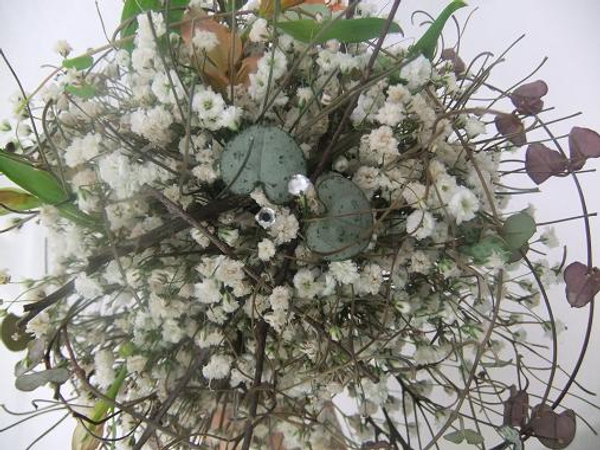 Sparkling beads in a Gypsophila posy