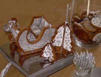 Silver bell and Gingerbread sleigh with frosted trees