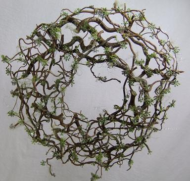 Forest Filigree Christmas wreath glued from hazel twigs and moss