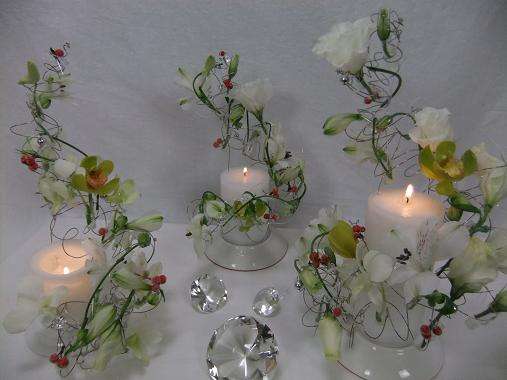 Rocking around three candle trees floral art design