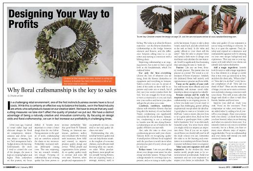 Designing your way to profits article by Christine de Beer in the Canadian Florist Magazine
