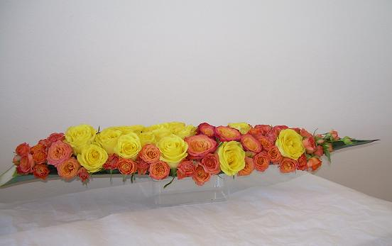 Floral Art Design using roses and Agave sisalana (sisal) boat.