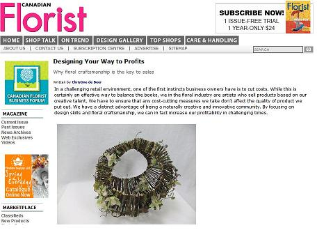 Floral craftsmanship article by Christine de Beer for the Canadian Florist Magazine