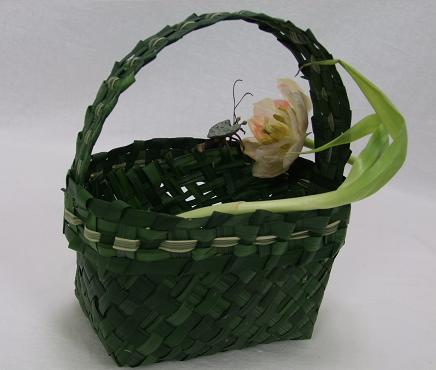 Love bug, tulips and a hand woven green grass flower girl bag