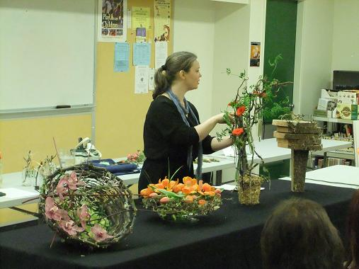 Floral Art demonstration at The Capilano Flower Arrangers club designing meaningful arrangements.
