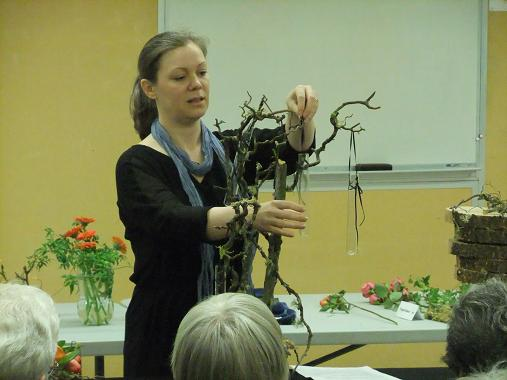 Floral Art demonstration at The Capilano Flower Arrangers club working in armatures.