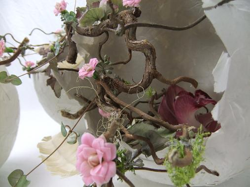 Kalanchoe 'Calandiva Pink' blossoms in hatched Papier Mache Easter eggs.