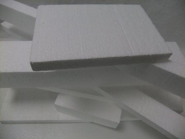 Sheets and blocks of polystyrene or Styrofoam.