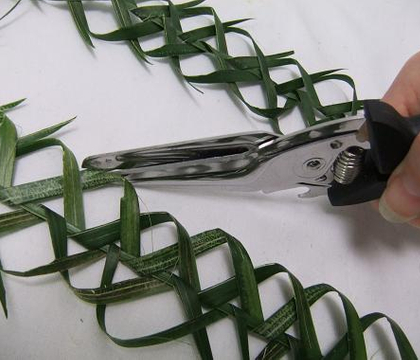 Plaiting a palm thorn garland