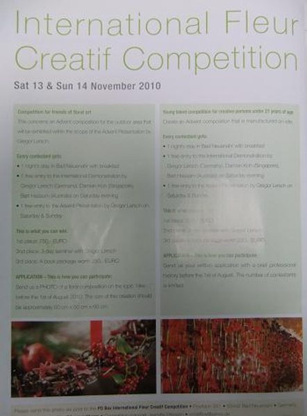 Fleur Creatif and Gregor Lersch Competition entry form.