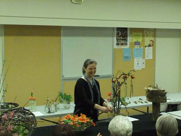 Floral Art demonstration at The Capilano Flower Arrangers club fairytale forest.