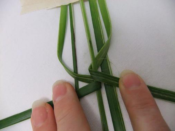 Fold the opposite leaf in and around the vain.
