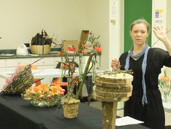 The demonstration explores ways to express yourself with floral art