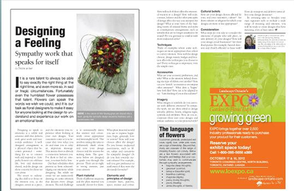 Designing a Feeling article in Canadian Florist Magazine.