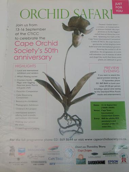 Cape Orchid Society's 50th anniversary.
