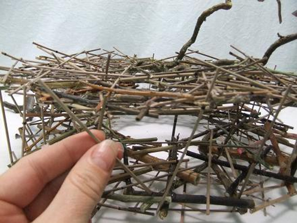Separate the two circles by gluing twigs to each side.