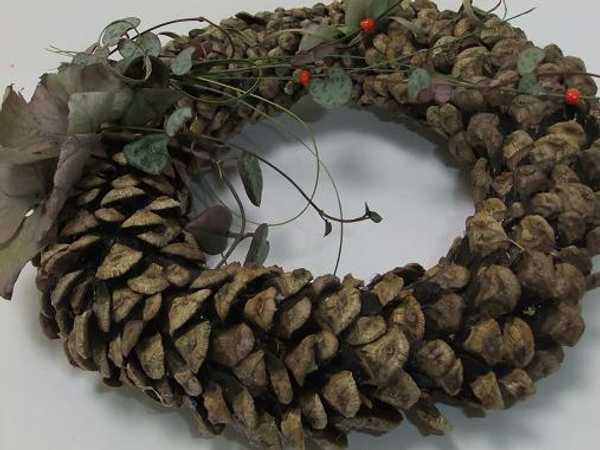 A pinecone scale wreath.