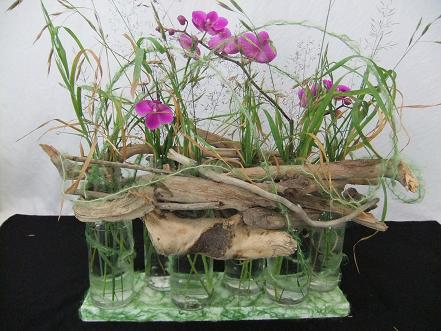 Driftwood nestles onto the glass bottles.
