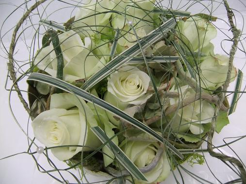 Romantic rose centerpiece with just a bit of an edge.