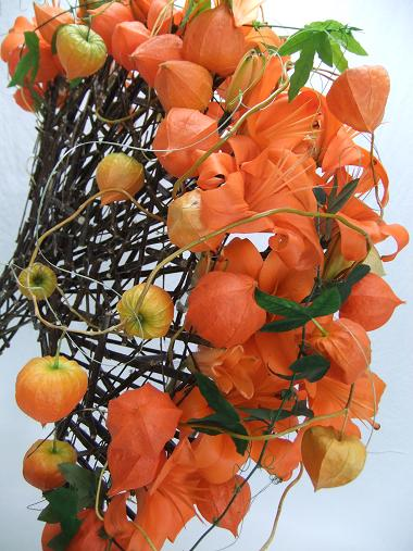 Lilies, Chinese lanterns, Passion fruit vines and Willow