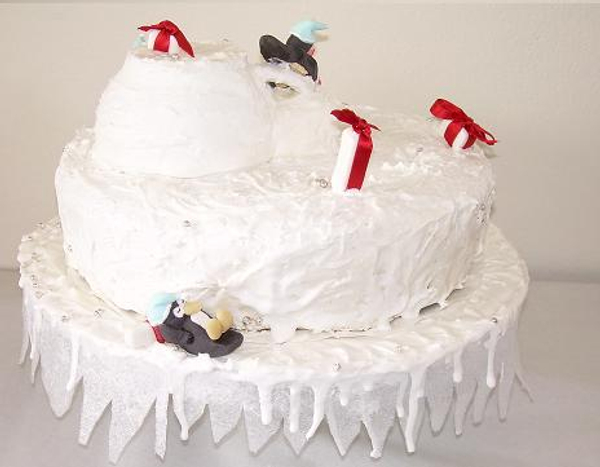 Penguin Christmas cake.