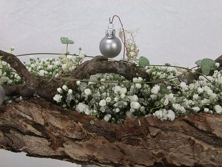 Baby's breath, bark, hazel and rosary vine winter Christmas