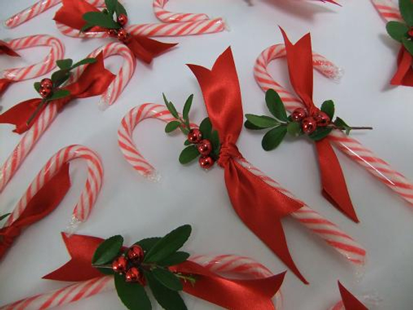 Boxwood, ribbon and beads to make the candy canes festive
