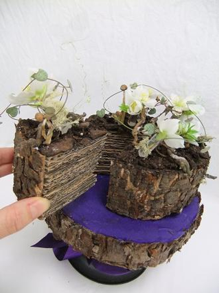 Cardboard and bark floral craft cake