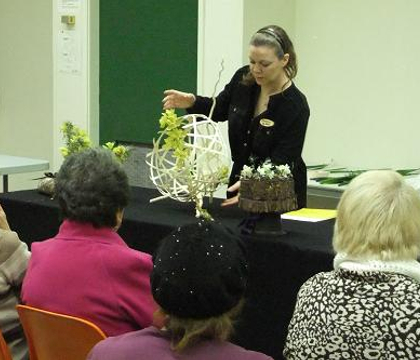 It is High Time for Tea.  Floral Craft and Art demonstration at the The Capilano Flower Arranging Club meeting