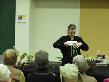 Demonstrating how to weave