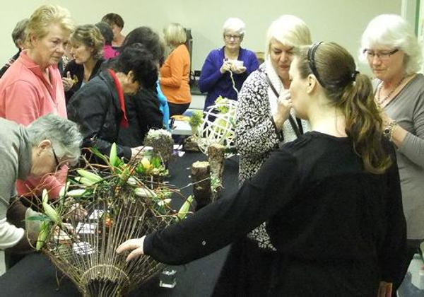 Floral Art demonstration at The Capilano Flower Arranging Club