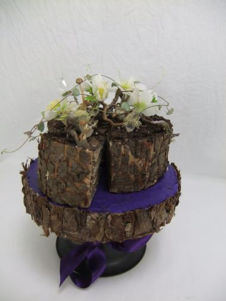 Floral craft bark veneer cake