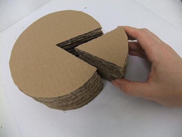 Once dry the cardboard cake shape is ready to design with