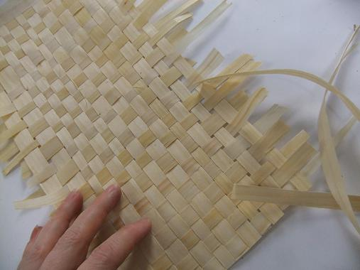 Woven mat ready to shape into cones