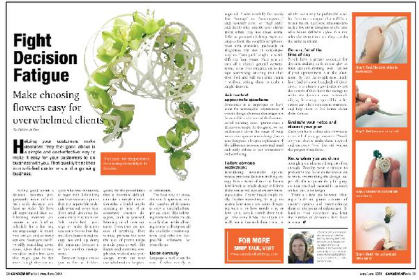 Decision Fatique Article in the Canadian Florist Magazine