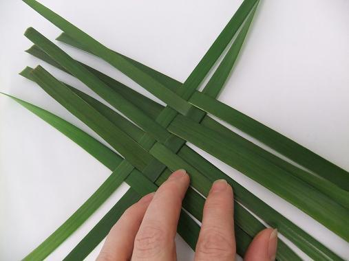 Keep adding long blades to build up a woven pattern.