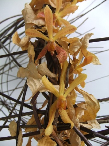 Twig and fall leaf floral art structure